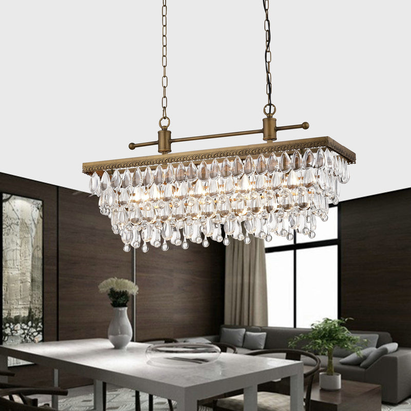 Bythos 4 Light Crystal Chandelier- Golden Bronze
