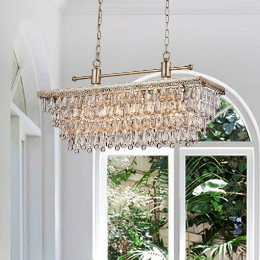 Bythos 4 Light Crystal Chandelier- Antique Silver