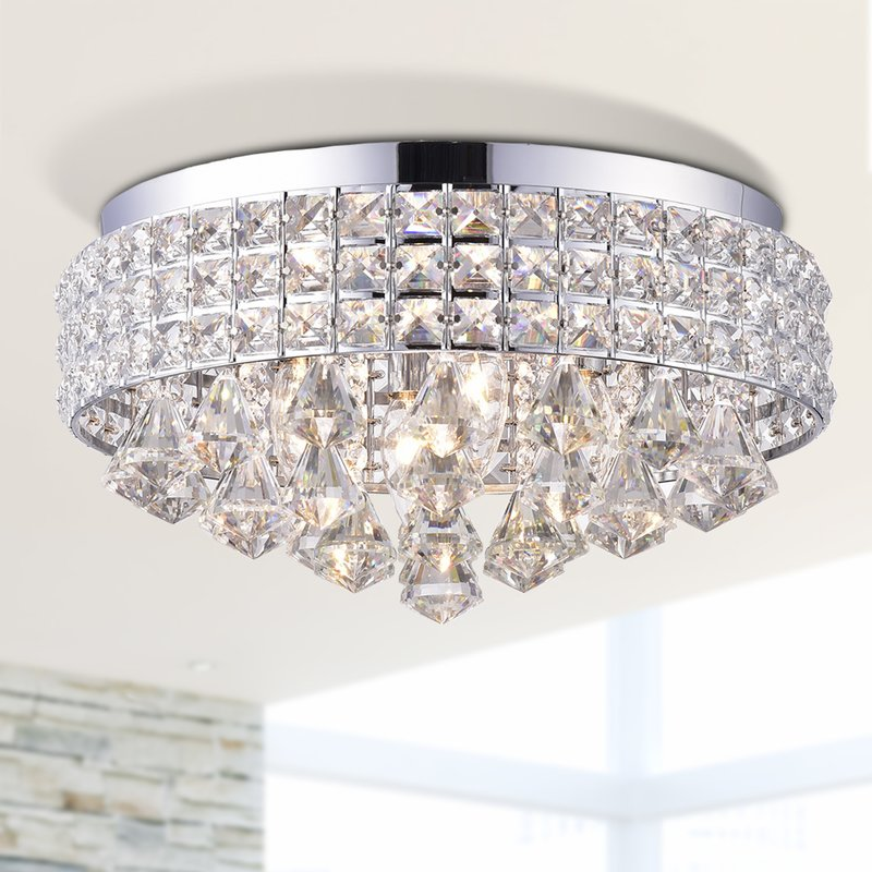 Aello 4 Light Crystal Flush Mount- Chrome