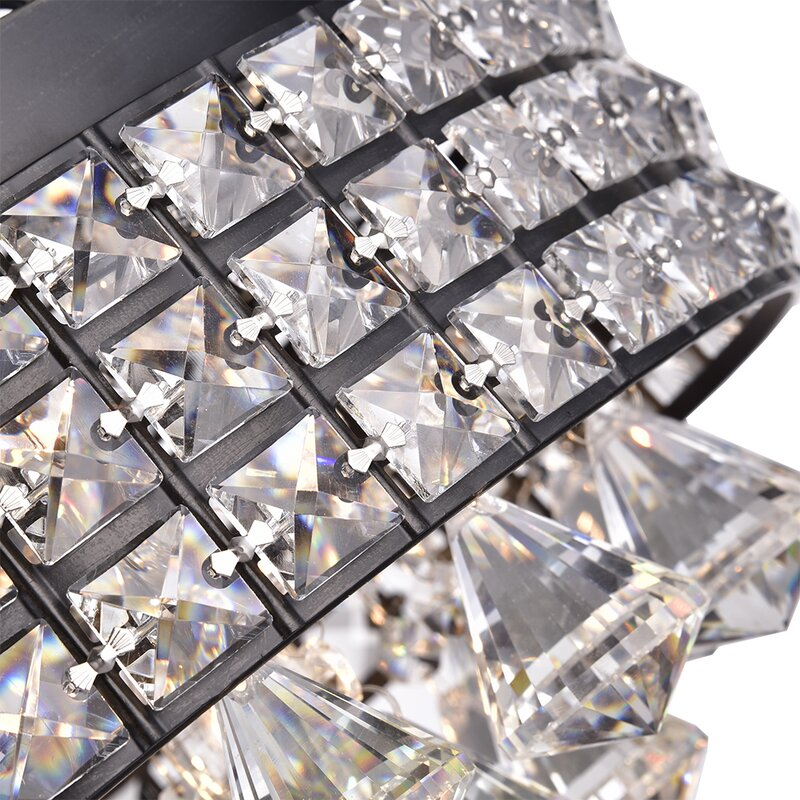 Aello 4 Light Crystal Flush Mount - Brownish Black
