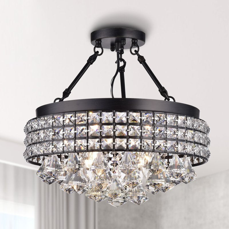 Aello 4 Light Crystal Semi Flush Mount