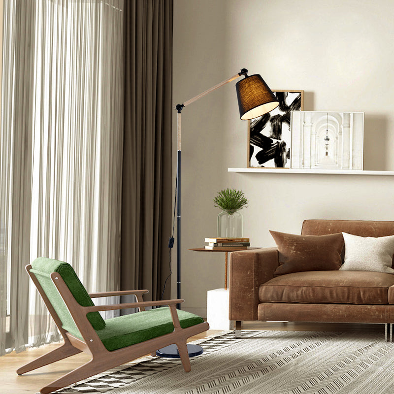 1 light Wood Grain and Black Finish Adjustable Task Floor Lamp