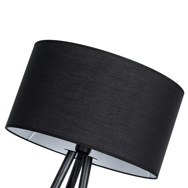 Moderno  1 Light Wood Grain and Black Finish Tripod Floor Lamp
