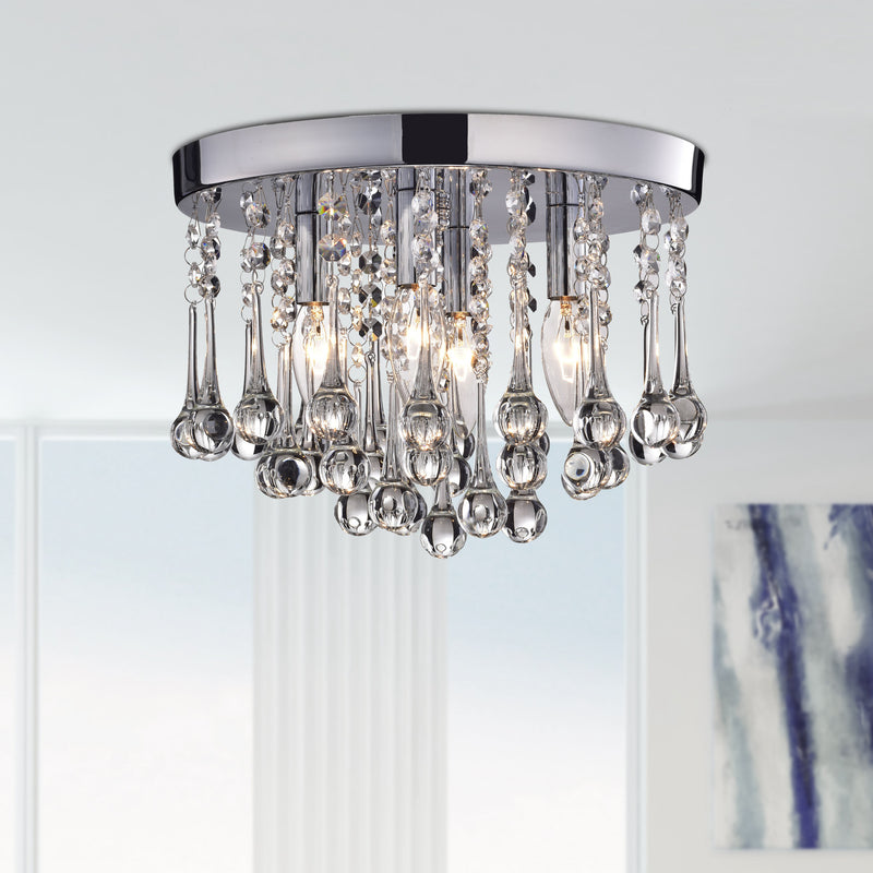 Scelene 4 Lights Flush Mount- Chrome