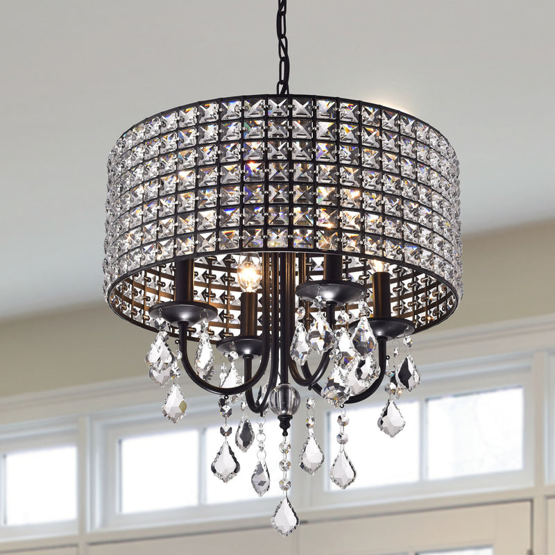 Chione 4 Lights Chandelier- Black