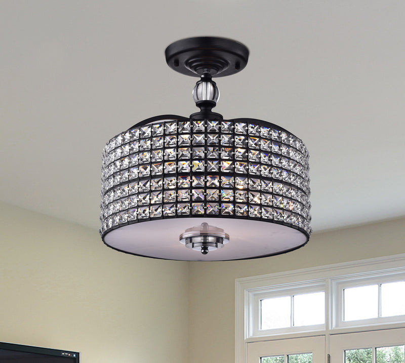 Pandia 3 Lights Semi-Flush Mount Black