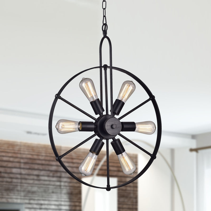 Coeus 6 Light Wheel Shape Chandelier