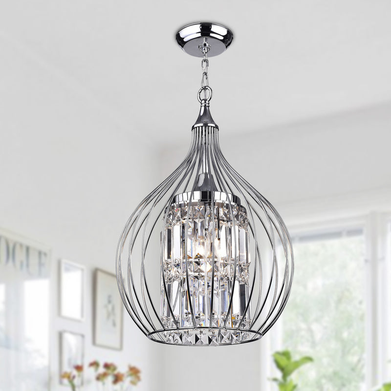 Lolaus 3 Light  Semi-Flush Foyer Pendant-Chrome