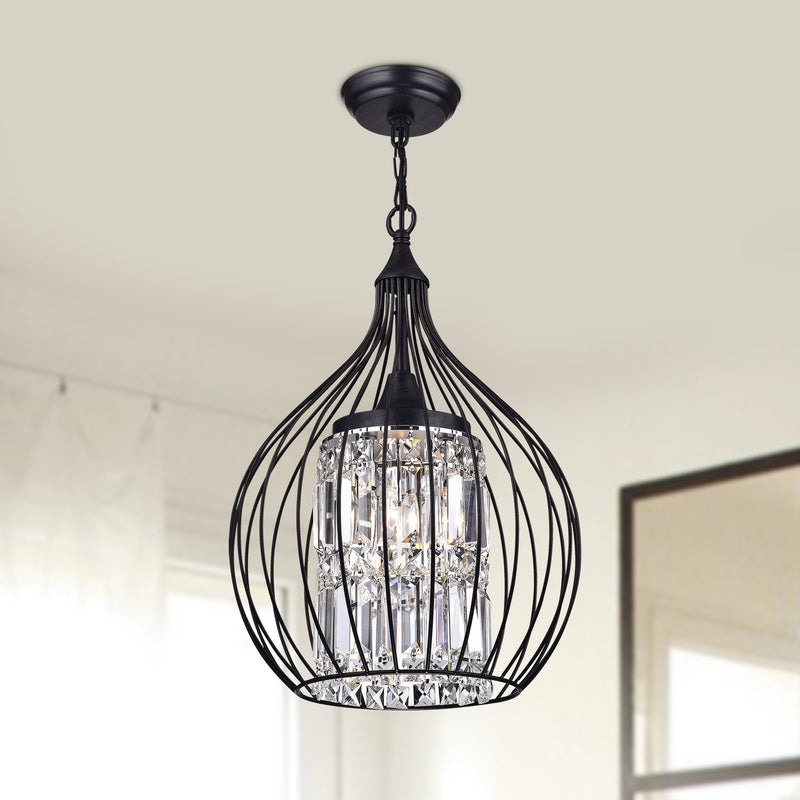 Lolaus 3 Light  Semi-Flush Foyer Pendant-Black