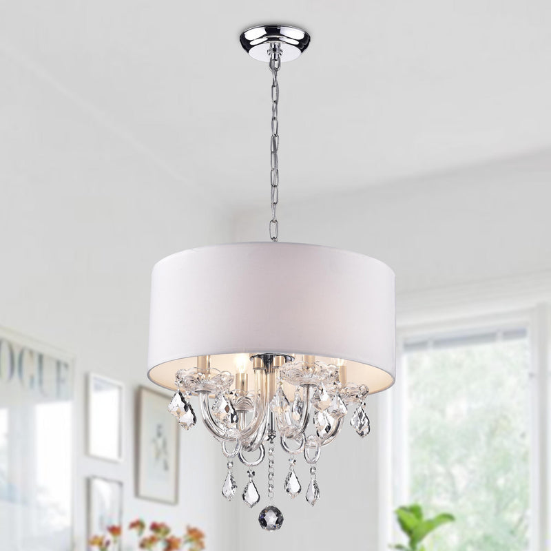 Asteria 4 Light Drum Chandelier- White