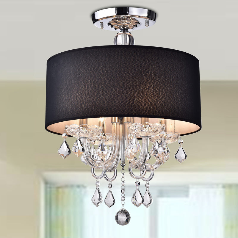Astraeus 4 Light Semi-Flush Drum Chandelier- Black