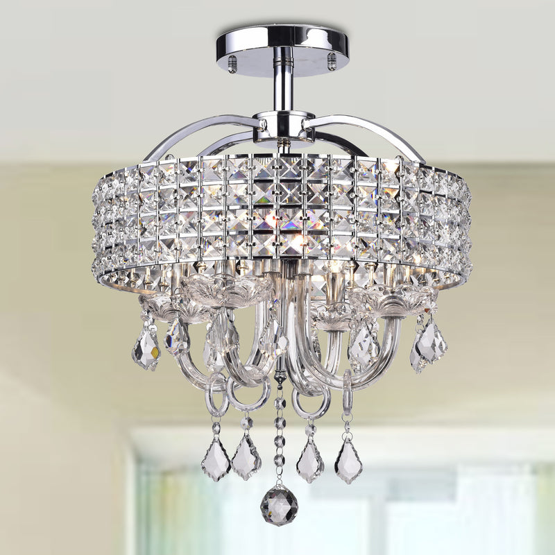 Lupe 4 light Semi-Flush Drum Chandelier Chrome