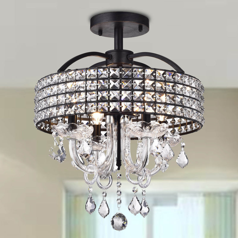 Lupe 4 light Semi-Flush Drum Chandelier- Black
