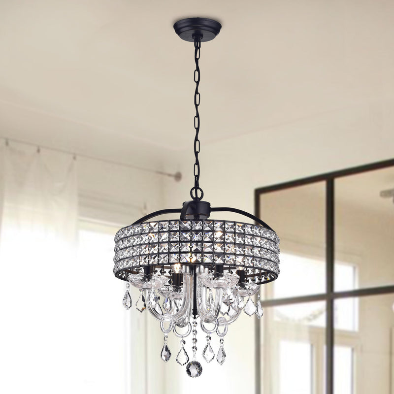 Lupe  4 light Drum Chandelier- Chrome