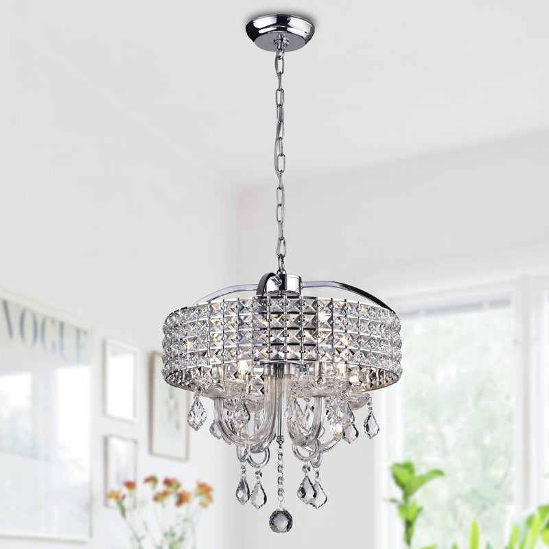 Lupe 4 light Drum chandelier- Black