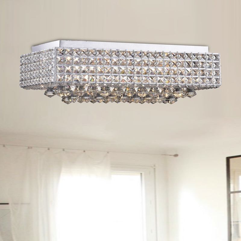 Angelia 8 Light Flush Mount Chandelier- Chrome