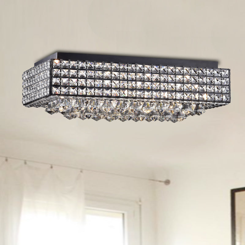 Angelia 8 Light Flush Mount Chandelier- Black