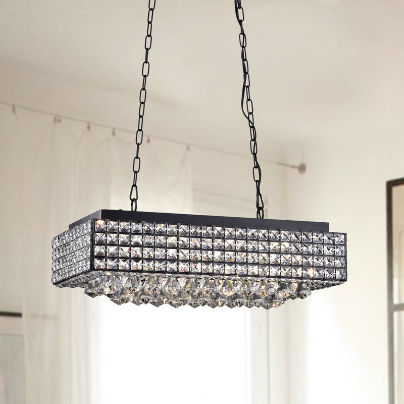 Angelia 8 Light Chandelier- Black