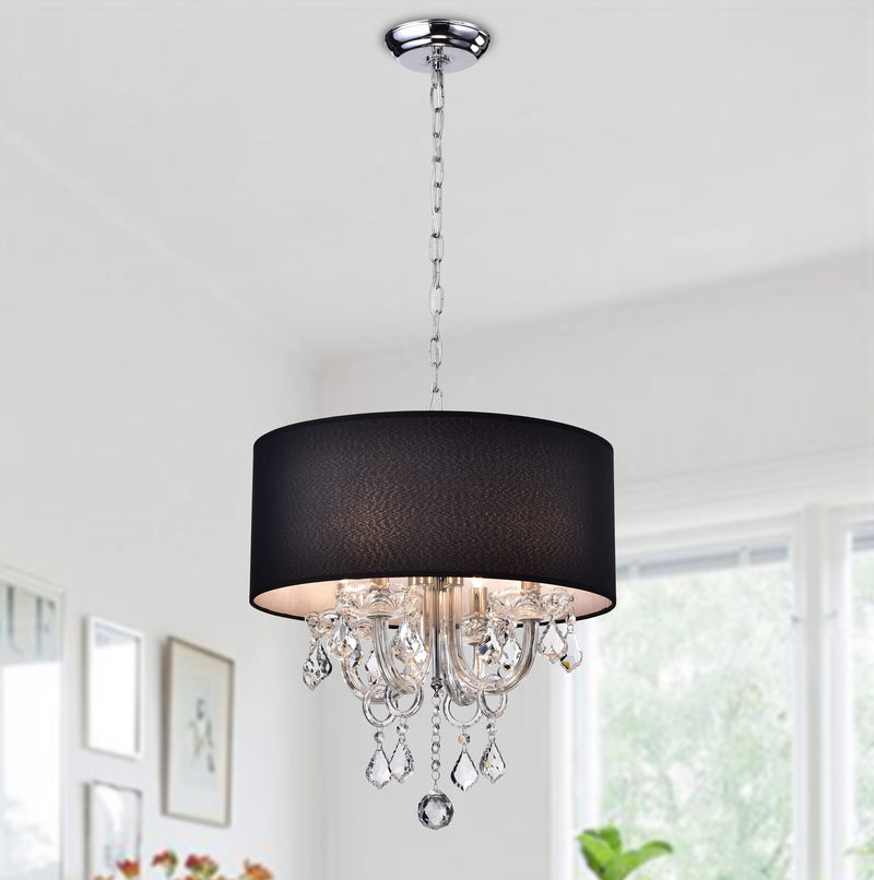 Asteria 4 Light Drum Chandelier-Black