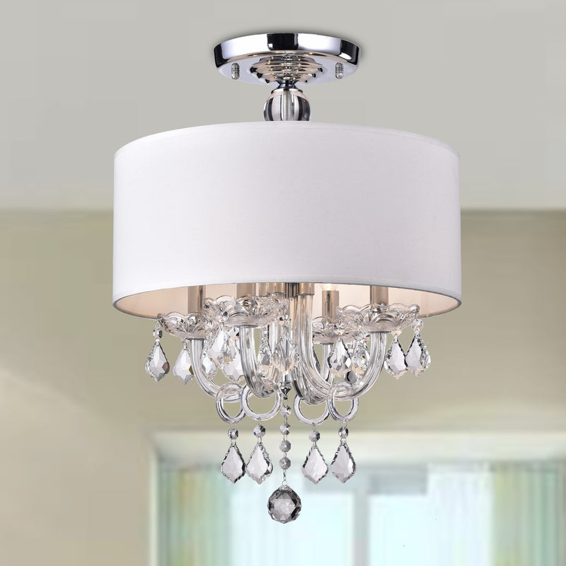 Astraeus 4 Light Semi-Flush Drum Chandelier- White