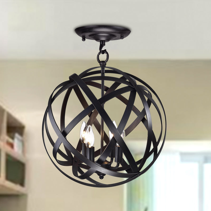 Clymene 4 Light Globe Semi-Flush Pendant