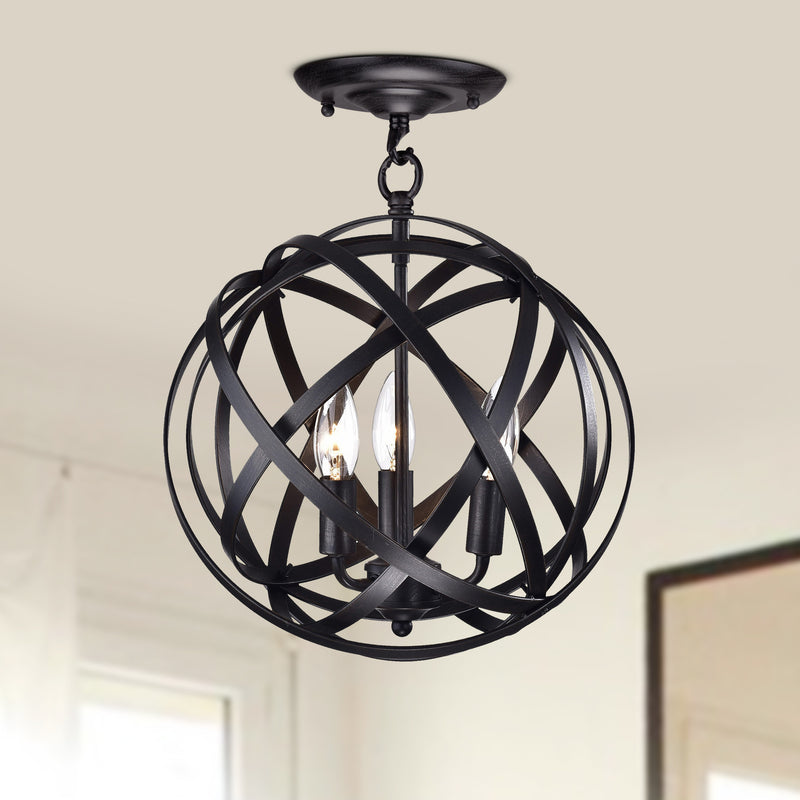Metis 3 Light Semi-Flush  Globe Pendant