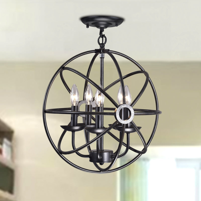 Corus 4 light Semi-flush Globe Pendant