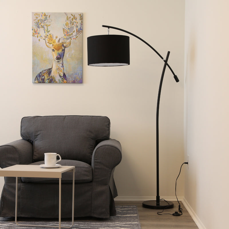 Moderno Black Finish Arched Floor lamp