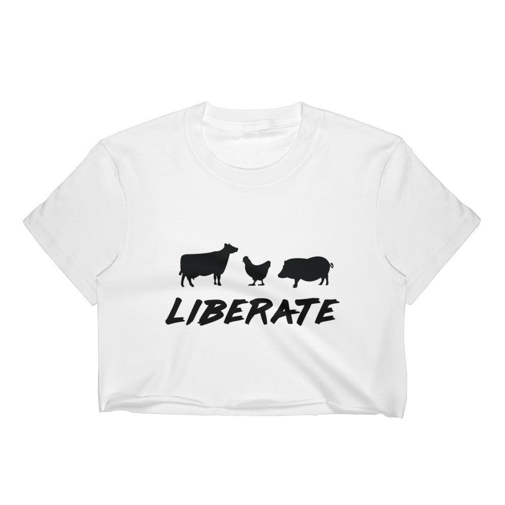 Liberate Women's White Crop - S - Faunapparel