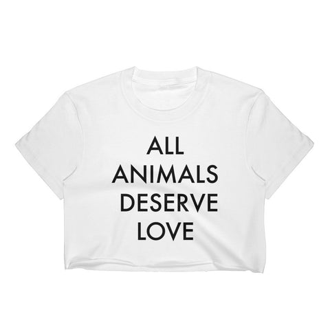 All Animals Deserve Love Women's White Crop - S - Faunapparel