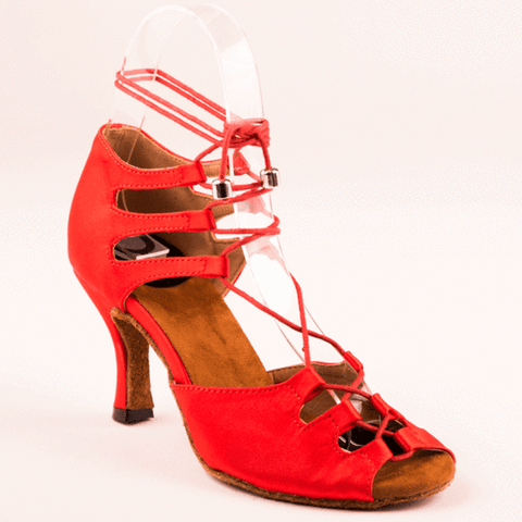 Red Hot Satin Latin dance shoes