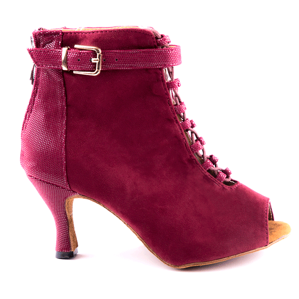 Maggie Open Toe Dance Bootie Burgundy