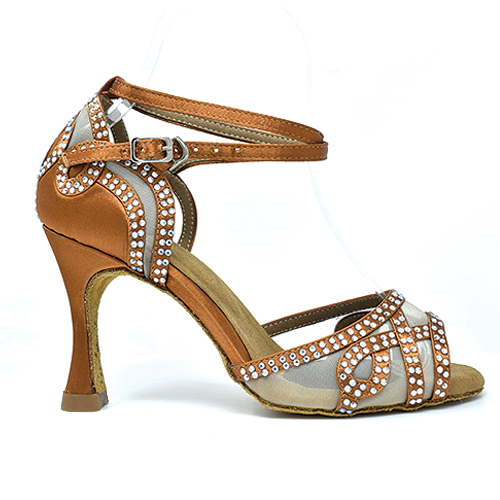 Emoni Nude Diamond Studded Latin Dance Shoe