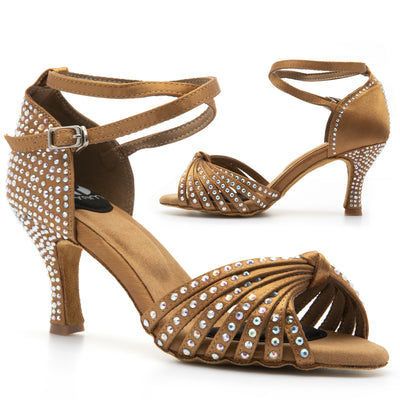 Diamond Studded Performer  Open Toe Latin Dance Shoe, Tan / Nude Satin, Flared Heel