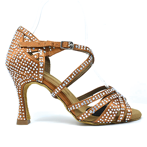 Diamond Studded Star Performer - Open Toe Latin Dance Shoe, Tan / Nude Satin, Flared Heel