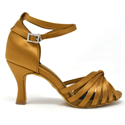 PERFORMER - Open Toe Latin Dance Shoe, Tan / Nude Satin, Flared Heel