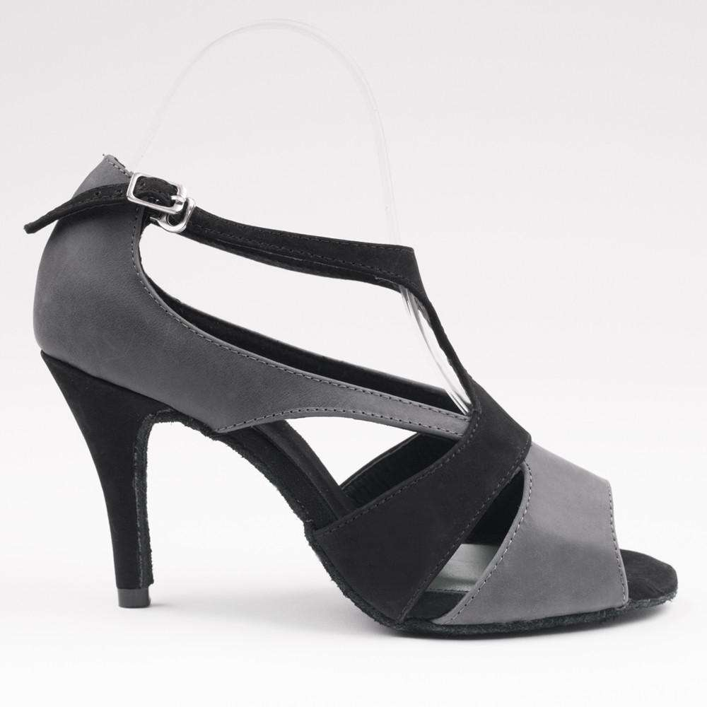 Yami Dance Shoes Dance Shoes 5 / 3in Stiletto Tamia Grey & Black