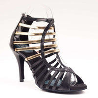 Sophia - Satin Black & Gold - Yami Dance Shoes