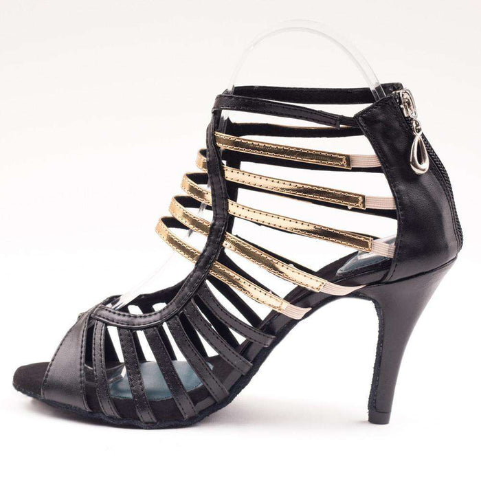 Yami Dance Shoes Dance Shoes Sophia - Satin Black & Gold