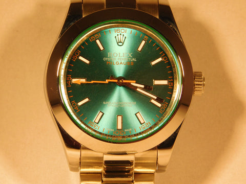 "Rolex Milgauss Replica Green ""Sunray"" Dial Stainless Steel Mens Watch - TheBestReplicaWatches.com"