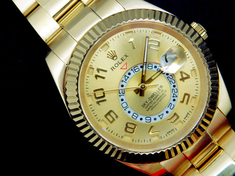 "Rolex Sky-Dweller Replica ""Dual Time Zone"" 18k Yellow Gold Mens Watch - TheBestReplicaWatches.com"