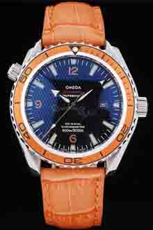 Omega Planet Ocean Replica Orange Leather Strap Mens Watch