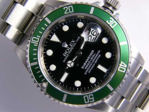 "Rolex Submariner Replica ""50th Anniversary"" Stainless Steel Black Dial/Green Bezel Mens Watch - TheBestReplicaWatches.com"