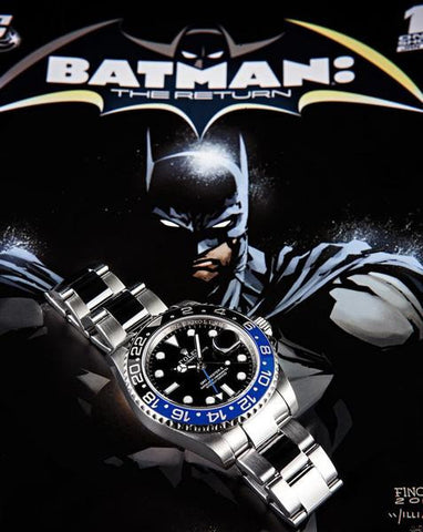 "Rolex GMT Master ll Replica ""Batman"" Black/Blue Bezel Mens Watch"