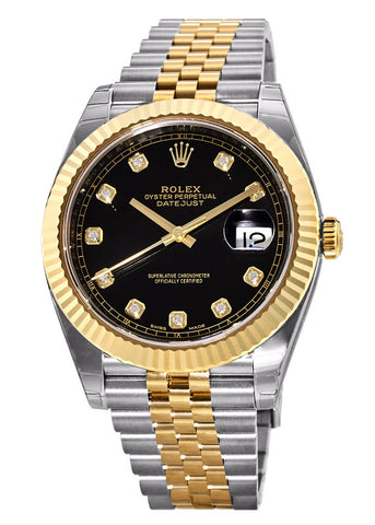 Rolex DateJust 18K Two-Tone Black Diamond Dial Mens Watch 41mm
