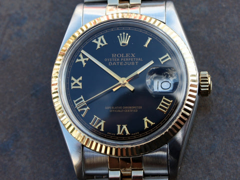 Rolex DateJust Replica Black Roman Dial 18k Gold Two-Tone Mens Watch 36mm - TheBestReplicaWatches.com