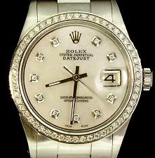 Rolex DateJust Silver Diamond Dial/Bezel Mens Watch 41mm