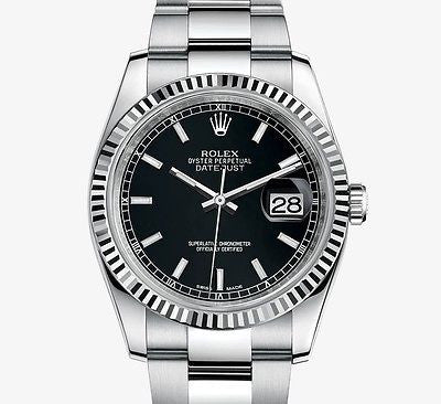 Rolex DateJust Black Stick Dial Stainless Steel Mens Watch 41mm