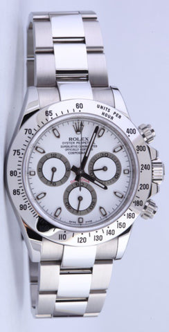 Rolex Daytona Replica White Dial Stainless Steel Mens Watch 40mm - TheBestReplicaWatches.com