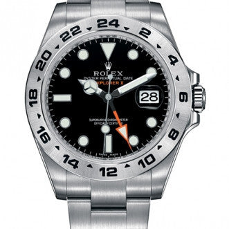 Rolex Explorer ll Replica Black Dial Stainless Steel GMT Mens Watch - TheBestReplicaWatches.com